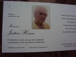 Doodsprentje/Bidprentje Justine Heeren(Wwe A.DEBOES/gez M.ONKELINX Neerlinter 1932 - 2017 St Truiden - Religion & Esotericism