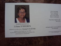 Doodsprentje/Bidprentje Liliane S'HEEREN(Wwe Gustaaf LELIÈVRE) St Truiden 1940 - 2011 Hasselt - Religion & Esotericism