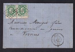 DDZ 148 - Lettre Paire TP 30 - Points 186 HUY 1870 Vers VERVIERS - Dernier Mois Du Tarif à 20 C Pour Plus De 30 Km. - 1869-1883 Leopold II