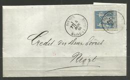 FRANCE. 1884. SAUMUR POSTMARK. NIORT DEUX SEVRES ARRIVAL. LAMBERT & FILS – BANKING. - 1876-1898 Sage (Type II)