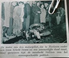MERKSEM..1939.. DE MOTOR KWAM ONDER DE TRAM TERECHT - Non Classés