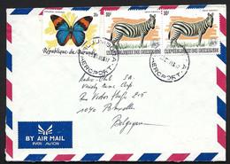 Lettre Par Avion. BURUNDI Vers Belgique. Papillon, Zèbres. 1986. - Unclassified