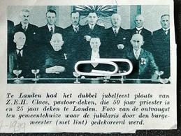 LANDEN..JUBELFEEST VAN Z.E.H. CLAES PASTOOR-DEKEN 50 JAAR PRIESTER EN 25 JAAR DEKEN TE LANDEN - Non Classés