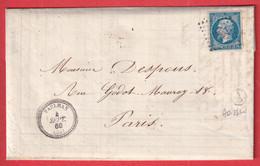 N°14 PC 2391 PAULHAN HERAULT CAD TYPE 22 BOITE RURALE A ADISSAN POUR PARIS INDICE 13 - 1849-1876: Classic Period