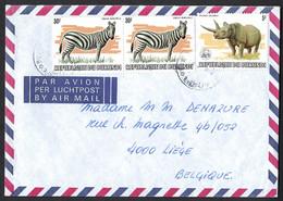 Lettre Par Avion. BURUNDI Vers Belgique.  Zèbres, Rhinocéros. - Unclassified