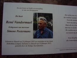 Doodsprentje/Bidprentje  René Vandormael(Echtg Simone Peetermans) Hasselt 1931 - 2013 - Religion & Esotericism