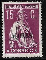 PORTUGAL  Ceres 15C 1912 -Açores  - MH No Faults - Unclassified