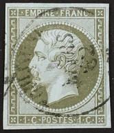YT 11 1c Olive TTB CaD 1862 (°) Obl 1853-60 Napoléon III, Cachet à Date (côte 90 Euros) France – 6bleu - 1853-1860 Napoleon III