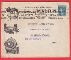 ENVELOPPE ILLUSTREE SEMEUSE EMILE MAURIN LYON 1926 POUR ST GERVAIS GARD - 1921-1960: Modern Period