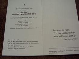 Doodsprentje/Bidprentje .Leopold Hendrik MINNEBO (Echtg A.VOLK)Ninove 1909 -1992 Antwerpen Shamrock IV Op Rust - Religion & Esotericism