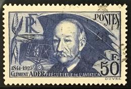 YT 398 (°) Oblitéré 1938, Clément Ader Avion N°3 50f Outremer (côte 80 Euros) France – Flo - Used Stamps