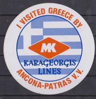 Autocollant, Karageorgis Lines, I Visited Greece By. - Autocollants