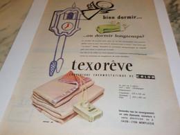 ANCIENNE PUBLICITE BIEN DORMIR TEXOREVE 1956 - Autres
