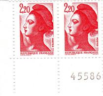 """YT 2376 ** - Liberté 2,20 Rouge - Variété """" à La Tête De Biche """" - Abarten: 1980-89 Ungebraucht"""