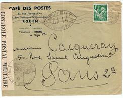 432 Sur Lettre Illustrée (voir Verso) Du Café Des Postes à ROUEN Du 10/01/1940 Pour Paris Avec Censure CA44 + Bande - Guerra Del 1939-45