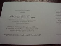 Doodsprentje/Bidprentje Robert Veeckman  Oud-doelman SK Wichelen En SOS Schellebelle   Wichelen 1931 - 2017 - Religion & Esotericism