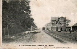 Les Environs De Ninove  La Gare Du Tram à Meerbeke Voyagé En 190???? Ne Possède Plus De Timbre - Charleroi