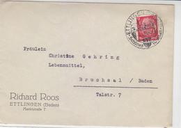 Brief Der Fa. Roos Aus ETTLINGEN 3.8.39 SST Nach Bruchsal - Covers & Documents