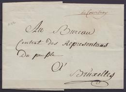 """L. Datée 14 Vendemiaire An 3 De YSENGHIEN Pour BRUXELLES - Man. """"deCourtray"""" - 1794-1814 (Franse Tijd)"""