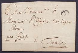 """L. Datée 5 Décembre 1784 De TOURNAY Pour TAMISE Par Gand - Cachet (T) De Tournai - Port """"4"""" - 1714-1794 (Austrian Netherlands)"""