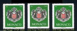 VARIETE BLASON TVP VERT MONACO 2502a LEGENDE PHILAPOSTE 2007 RARE !!! - Unused Stamps