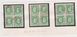 Belgie Nr 30 Hennuyeres (3 X In Blok Van 4 Op Fragment) - 1869-1883 Leopold II