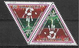 2021 ALGERIE Feux De Forêt ** Triangulaire En Paire - Argelia (1962-...)