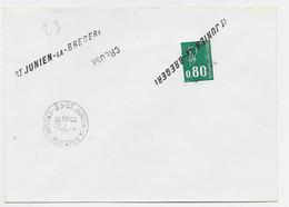 BEQUET 80C VERT LETTRE ANNULATION GRIFFE ST JULIEN LA BREGERE CREUSE + TIMBRE A DATE 31.8.1977 - Manual Postmarks