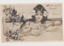 Carte Fantaisie Style Art Nouveau  / Jeune Femme Effeuillant Une Marguerite - Women
