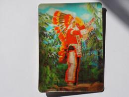 3d 3 D Lenticular Stereo Postcard Indian Chief   A 212 - Cartoline Stereoscopiche