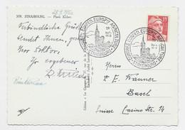 GANDON 15FR ROUGE CARTE C. ILLUSTRE CONGRES CONFED. EUROPne AGRICULTURE STRASBOURG 29 SEPT 1950 POUR SUISSE - Matasellos Conmemorativos