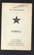 Pau (64 Pyrénées Atlantiques)  Menu Du 20e Anniversaire Du CORPS FRANC POMMIES 1964 (PPP28953) - Menus