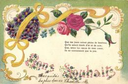 Carte Gaufrée Style Art Nouveau Fleurs Ruban Bons Souhaits Pionnière RV - Other