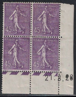 SEMEUSE LIGNEE - N°197 - BLOC DE 4 - COIN DATE  -21-8-1928 -  TRACE CHARNIERE ET PLI - COTE 65€ - ....-1929