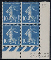 SEMEUSE - N°279 - BLOC DE 4 - COIN DATE  - 24-10-1936 - SANS TRACE CHARNIERE - COTE 20€ . - ....-1929