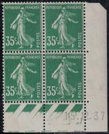 SEMEUSE - N°361 - BLOC DE 4 - COIN DATE  - 15-12-1937 - TRACE CHARNIERE SUR BANDELETTE - COTE 7€ . - ....-1929