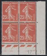SEMEUSE - N°235 - BLOC DE 4 - COIN DATE  - 17-2-1937 - TRACE CHARNIERE - COTE 3€ . - ....-1929
