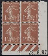 SEMEUSE - N°277B - BLOC DE 4 - COIN DATE  - 23-6-1937 - INFIME TRACE CHARNIERE - COTE 4€ . - ....-1929
