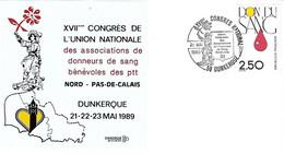 Enveloppe - Sur Yv 2528 - Cad XVIIème Congrès Associations Donneurs Don Sang Bénévoles Ptt - 21 23 Mai 1989 - Dunkerque - Briefe U. Dokumente