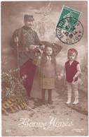 Militaria - Militaire : Guerre 1914-18 : Patriotique : Soldat Avec Enfants - Alsace : Bonne Année : 1915 - Patriotic