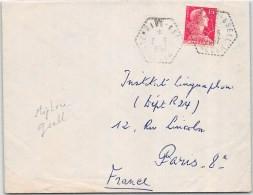 LETTRE AVEC PERLE HEXA DE STEPHANE GSELL ALGER 1957  ALGERIE FRANCE COVER - Storia Postale