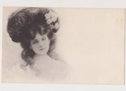 Carte Dessinée / Jeune Femme Brune Avec Chapeau - Before 1900
