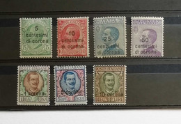 Dalmazia 1921-22 Francobollo D'Italia Del 1901-10 Soprastampa 7 Valori Completa ** - Dalmatia