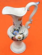 Vase Aiguière Céramique Vénitienne D' Art (Milcéram' S) Faïence Polychrome à Décor Floral - Altri