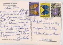 Djibouti Carte Postale La Vie Des Nomades Affranchissement Timbre Papillon Plante 1984 Butterfly Stamp - Djibouti (1977-...)