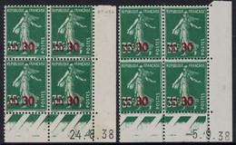 SEMEUSE - N°476 - 2 BLOCS DE 4 - COIN DATE  - 24-8-1938 ET 5-9-1938 - SANS TRACE CHARNIERE - COTE 3€. - ....-1929