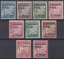 OCEANIE : SERIE TAXE SURCHARGEE N° 1/9 NEUVE * GOMME AVEC CHARNIERE - Postage Due