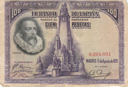 BANCONOTA SPAGNA 1928 100 F (HB834 - 100 Pesetas