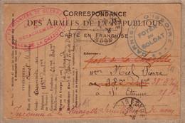 PUY DE DÔME LOIRE - CARTE CANNONIER GARNISON D' ISSOIRE POUR LA CHAZOTTE SAINT ETIENNE - 1917 - 1. Weltkrieg 1914-1918
