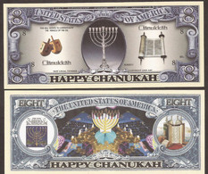 Fantasy Note 8 Dollars - Judaica - Hanukkah  -- Happy Chanukkah - Other - America